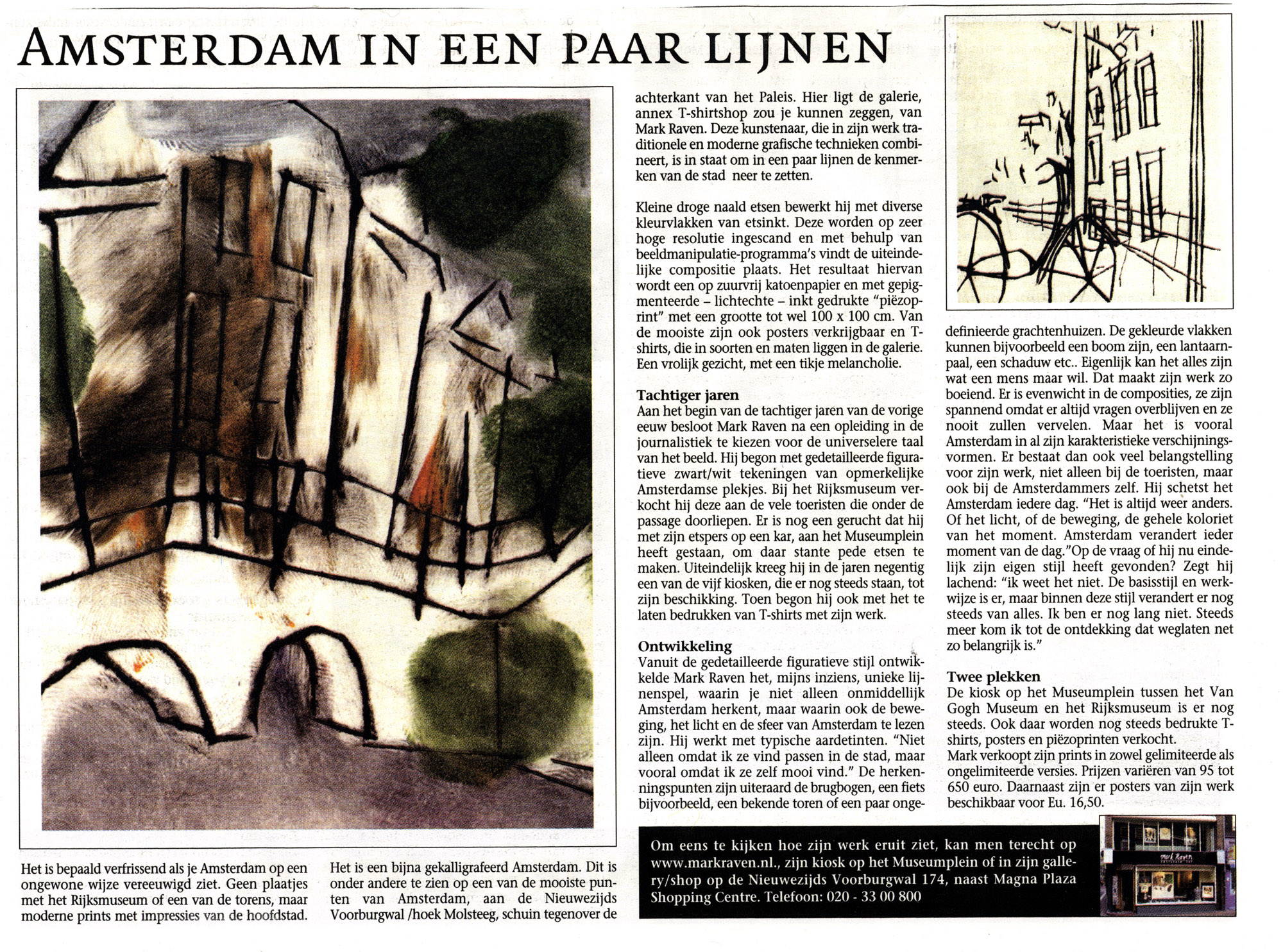 Article in Museum Krant of Amsterdam Artist Mark Raven